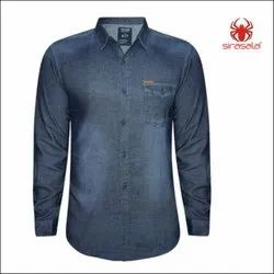 Men Plain Cotton Denim Shirt