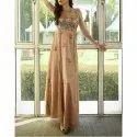 Party Wear Embroidered Beige Floral Motif Designer Gown