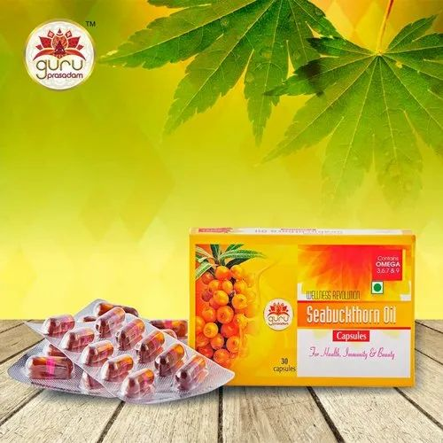 GURU PRASADAM Sea Buckthorn Capsules, 30 Capsule, Packaging Type: Box