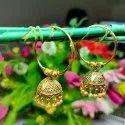 Brass Jhumkis Ladies Golden Jhumka Earrings