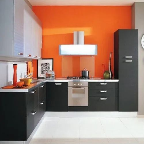 L Shape Residential Particle Board Modular Kitchen, Warranty: 1-5 Years