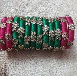 Pink Kundan Silk Thread Bangle Set, Packaging Type: Box