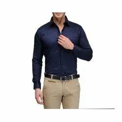 Nishant Button Men Plain Blue Formal Shirt, Machine Wash,Hand Wash, Packaging Type: Packet