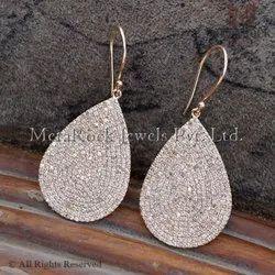 14k Rose Gold White Diamond Tear Drop Earring
