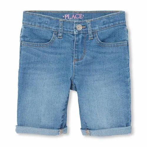 Regular Wear Denim Blue Jeans Girls Shorts