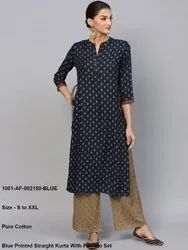 Blue Printed Straight Kurta With Palazzo Set