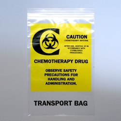 Zipper Glossy Chemo Transfer Bags Reclosable, Size: 6 X 9