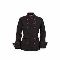 Cotton Chef Jackets Woman Black Chef Coat, Size: Medium