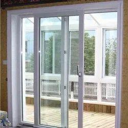 UPVC Pristine White 2 Track Sliding Door, For Home
