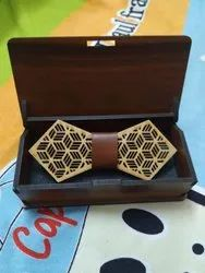 Wooden Bow Tie With Wooden Box