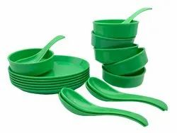 Utensza Plastic Soup Bowls Set of 18 Pcs, 6 Bowl, 6 Oval Plate and 6 Spoon, Round Shape (green)