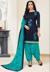 Midnight Blue Slub Cotton Patiala Kameez