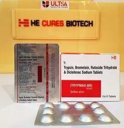 Trypsin 45 Mg Bromelain 90mg Rutoside 10mg Diclofenac 50mg Tablet
