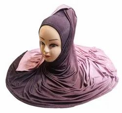 Violet Color 2 Shade Soft Jersey Stretchable Scarf Hijab Dupatta