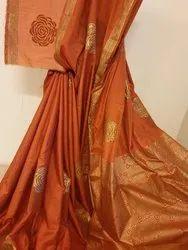 Light Weight Soft Silk Sarees Handblock Printed in Metallic Colours