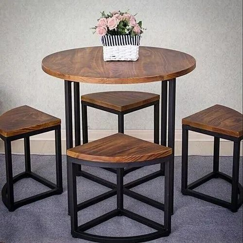 Round Iron And Wooden Restaurant Dining Table Set Rs 14500 Set Id 21828923755