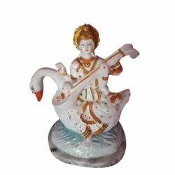 Polyresin Saraswati Statue, Size: 6 Inch, for Worship