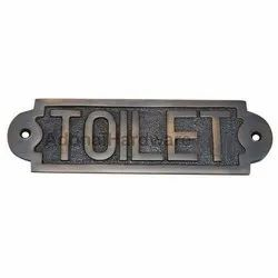 Large Toilet Brass Sign
