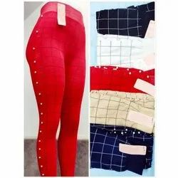 Rayon Straight Fit Designer Womens Check Leggings, Size: S-XXL