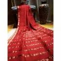 Red Party Wear Fancy Tussar Silk Saree, 6.3 M (with Blouse Piece), Machine Made
