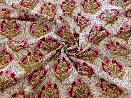 Indian Hand Block Floral Print Handmade Cotton Voile Garment Fabric