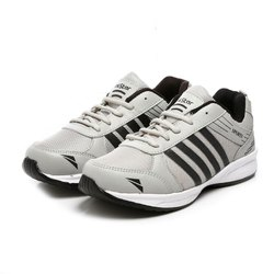 Mens Light Grey Black Synthetic Walking Shoes
