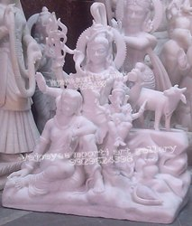 White Marble Shiva Family Statue