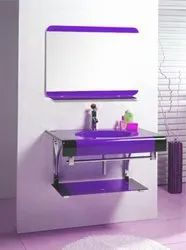 Wall Mounted Purple glass Wash basin mirror set, For Bathroom