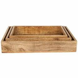 Wooden Trays (Set of Three) - Natural