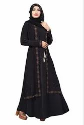Women's Black Lycra Abaya Burqa With Attached Jacket And String Waist Belt With Dupatta