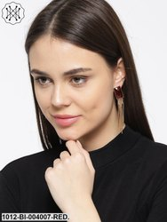 Gold Tone Earrings With Rediant Red Stone