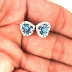 Heart Shape Blue Diamond Stud Earring TCW 1.47 VVS VS