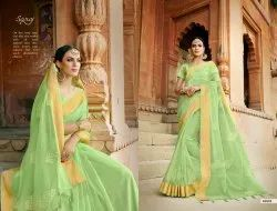 Designer Fancy Organza Silk Saree