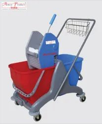 Double Bucket Mop Trolley with Caddy