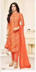 Orange Party Wear Ladies Fancy Dress Material