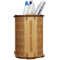 Wow Graphics Brown MDF Pen Holder, for Office