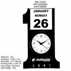 Stylish Wall Clock With Calendar  & Key Hanger