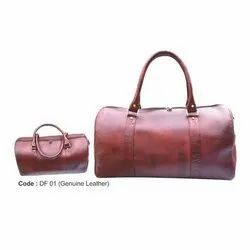 Brown Plain Pure Leather Duffel Bag, For Travel