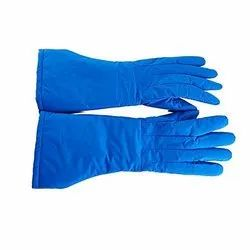 POLYESTER, LEATHER Blue Cryogenic Hand Gloves, For Industrial