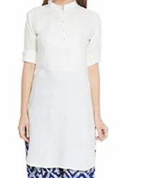 Casual Wear Half Sleeve Women's Solid Color Rayon Kurti, Wash Care: Machine wash