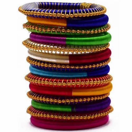 Shiv Enterprises Multicolor Silk Thread Jewellery Bangle, Packaging Type: Box