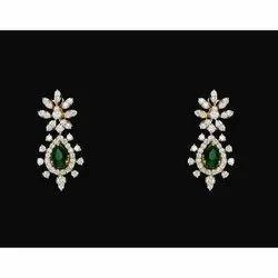 Real Diamonds 14k Gold Diamond Studded Emerald Earring