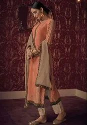 Peach Handwork Pant Kameez With Chanderi Dupatta