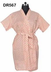 Cotton Hand Block Print Short Kimono Robes Dressing Gowns Bridesmaids DR567
