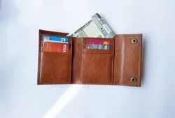 Female Trifold Double Button RFID leather Wallets, Card Slots: 6
