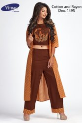 Cotton Jacket Kurti with Crop Top and Palazzo