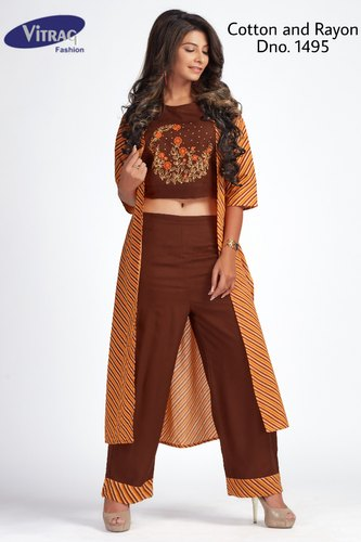 bf6b5c5b1f5b5 Brown PARTY WEAR Cotton Jacket Kurti With Crop Top And Palazzo