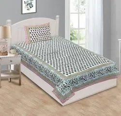 Jaipuri Cotton Single Bedsheet Floral Print