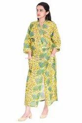 Flower Print Cotton Kimono Robe
