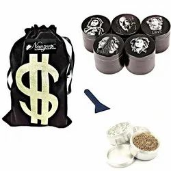 Newzenx Metal Grinder Black Designer Crusher 4 Part Grinder 50mm Including Velvet Pouch